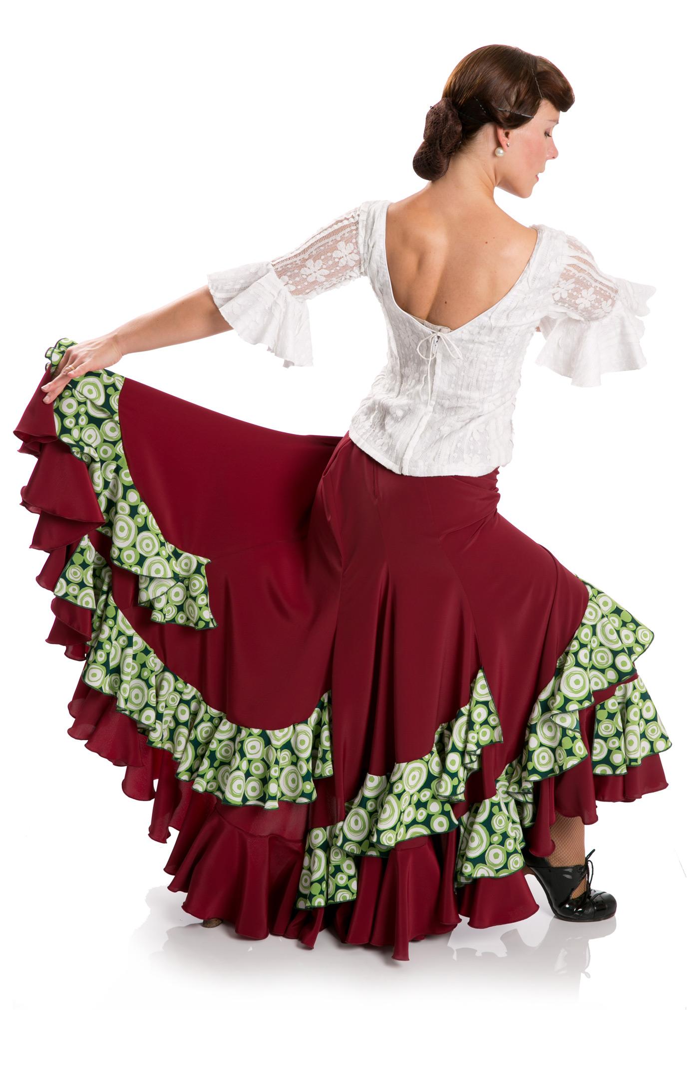d4d1a3f76 Flamenco Skirt Triana FL Bordeaux/Green › Vestidos y Faldas › La ...