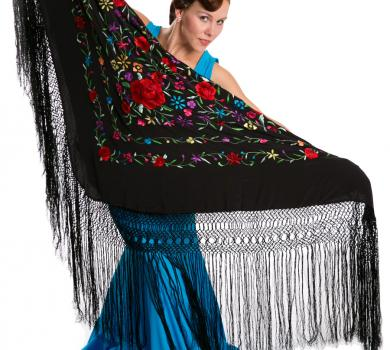 Black silk shawl with handmade embroideries with flowers