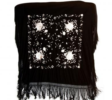 Black silk shawl with handmade embroideries