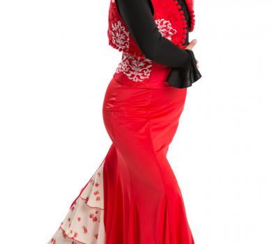 Flamenco Dance Skirt Azabache VII Red/R5-C101