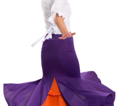 Flamenco Dance Skirt Azabache VII Purple/Orange