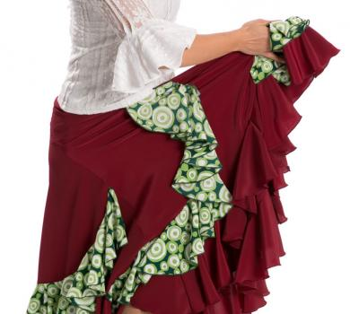 Flamenco Skirt Triana FL Bordeaux/Green