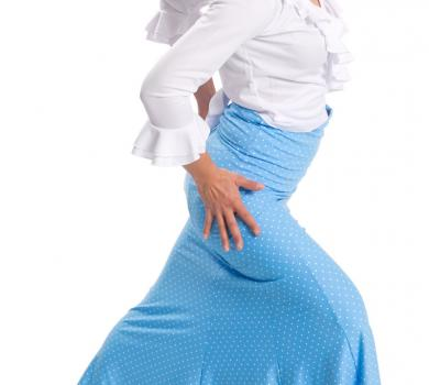Flamenco Skirt La Tate Blue Lunares