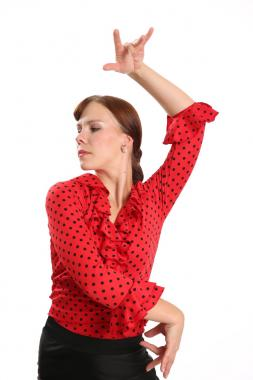 Flamenco blouse red with black dots
